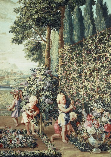Boys picking lilac flowers, 17th century Gobelins tapestry based on cartoons by Charles Le Brun, from the series The Child Gardeners. : Stock Photo