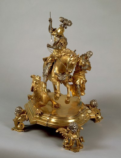 Stock Photo: 1788-26650 Goldsmith's art, Italy, 17th century. Silver and gilded bronze Saint George and the Princess, late 1600, attributed to Lorenzo Vaccaro (1655-1706).