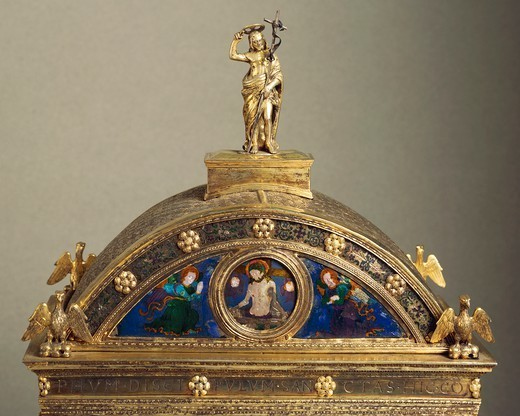 Stock Photo: 1788-26671 Silversmith's art, Italy, 16th century. Paolo di Giovanni Sogliani, Reliquary of the Libretto in enamelled silver gilt, Parisian manufacture, 1500-1501. Detail.