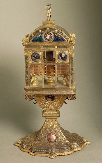 Stock Photo: 1788-26672 Silversmith's art, Italy, 16th century. Paolo di Giovanni Sogliani, Reliquary of the Libretto in enamelled silver gilt, Parisian manufacture, 1500-1501.