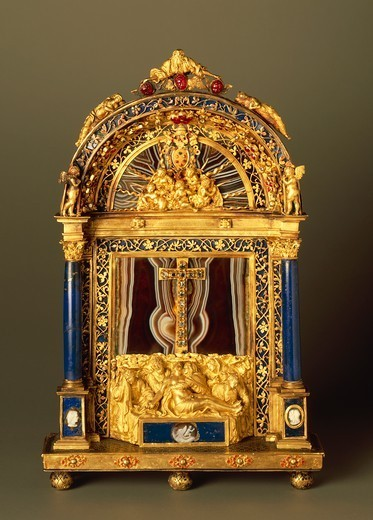 Goldsmith's art, Italy, 16th century. Leone Leoni (1509-1590), liturgical object called Pace (Peace) or osculum pacis in gold, diamonds, rubies, pietre dure and enamel. : Stock Photo