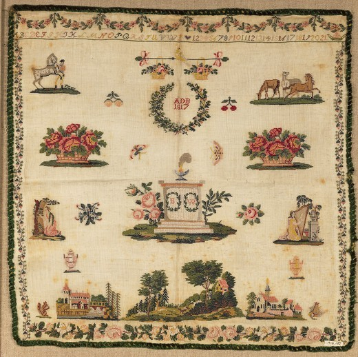 Stock Photo: 1788-26719 Embroidery, Germany 19th century. Beginner's work, embroidered in silk cross-stitch on linen, initialed (ADB)  and dated (1817).