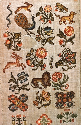 Stock Photo: 1788-26723 Embroidery, England 17th century. Linen embroidered sampler,  with silk and metal threads, 1700 -1750.