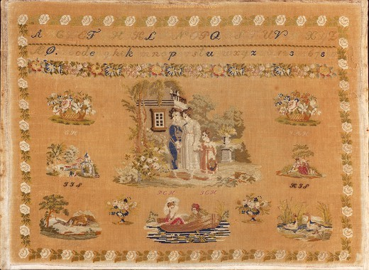 Embroidery, Denmark 19th century.  Beginner's work, embroidered in silk cross-stitch and small stitch on linen, 1846. : Stock Photo