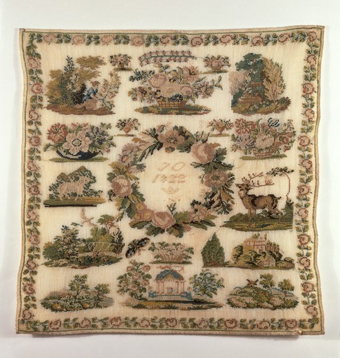 Embroidery, Germany 19th century. Beginner's work embroidered in cross-stitch on fine weft linen, 1822. : Stock Photo