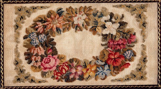 Embroidery, Germany 19th century. Front cover of a notebook, embroidered in woollen small stitch with silk threads on a canvas, with floral motif and leather-binding, approximately  1830. : Stock Photo