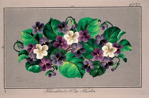 Stock Photo: 1788-26797 Embroidery, Germany 19th century. Bunch of violets embroidery design.