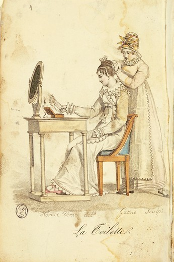 "Fashion, France, 19th century. The toilette, engraving after a drawing by Horace Vernet. From """"Almanach des Modes"""", 1815 : Stock Photo"