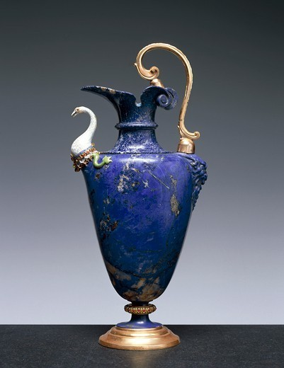 Stock Photo: 1788-26982 Goldsmith's art, Italy, 15th century. Hans Domes (active 1563-1601), Lapis lazuli water ewer, with enamelled gold and gilt bronze. Height 27.5 cm. Manufacture of the Casino di San Marco Workshop.