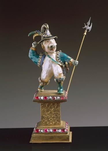 Stock Photo: 1788-27062 Goldsmith's art, Germany, 17th century. Figurine of Swiss soldier in enamelled gold, baroque pearls and rose-cut gems, 1680.