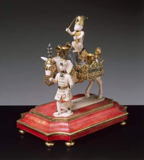 Stock Photo: 1788-27064 Goldsmith's art, Germany, 17th century. Figurine of mule-driver in ivory, ebony, gilded silver, enamels, diamonds and rock crystal, 1670-1680.