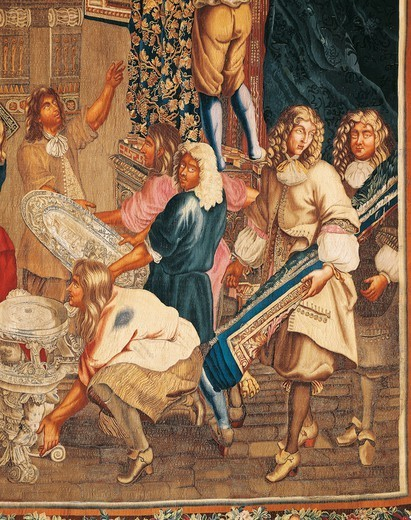 Stock Photo: 1788-27177 Louis XIV visiting the Gobelins Factory, detail of 17th century French tapestry.