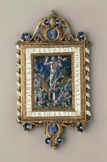 Silversmith's art, Italy, 16th century. Chiselled, enamelled gilded silver pendant plaque set with pearls and mother-of-pearl depicting the Resurrection. : Stock Photo