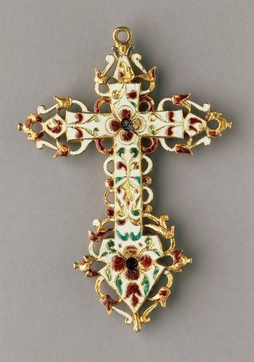 Stock Photo: 1788-27202 Goldsmith's art, Italy, 17th century. Emeralds and enamelled gold cross.