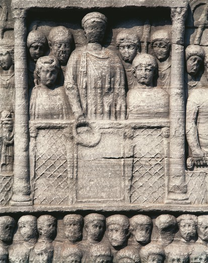 Stock Photo: 1788-27203 Byzantine art: Turkey - Istanbul - 4th century. The Hippodrome of Constantinople, bas-relief of the Obelisk of Theodosius. Detail representing the Roman Emperor Theodosius I among his court, awarding race winners