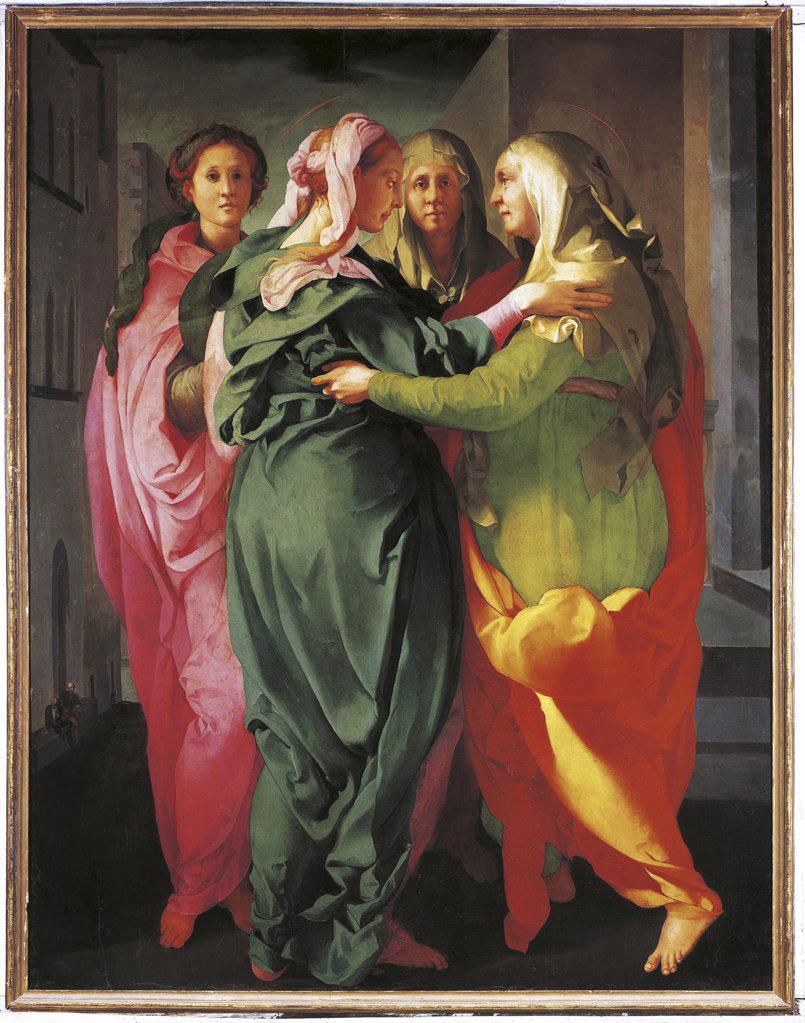 Italy - Tuscany Region - Carmignano - Provostry of St. Michael - The Visitation by Pontormo (1530) : Stock Photo