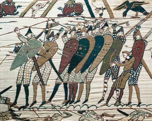Stock Photo: 1788-27332 Queen Mathilda's Tapestry or Bayeux Tapestry depicting Norman conquest of England in 1066, detail. France, 11th century.