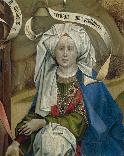 Master of Flemalle Robert Campin (1375/1379-1444) Nativity, 1420 ca., oil on panel, 87x70 cm. Detail: woman. : Stock Photo