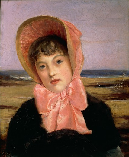 Stock Photo: 1788-27415 Jacques Emile Blanche (1861-1942), A Girl with a Pink Hat (The Pink Hat), 1883, oil on canvas, 55.6x46.5 cm.