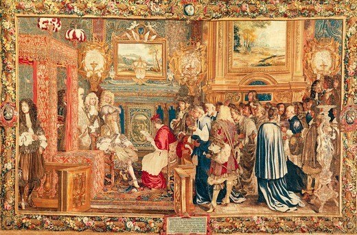 Stock Photo: 1788-27426 Louis XIV receiving the Papal Legate Cardinal Chigi at Fontainebleau, July 27, 1664, 17th century French tapestry based on a cartoon by Saint Andre, manufacture of Gobelins, 1665-80.