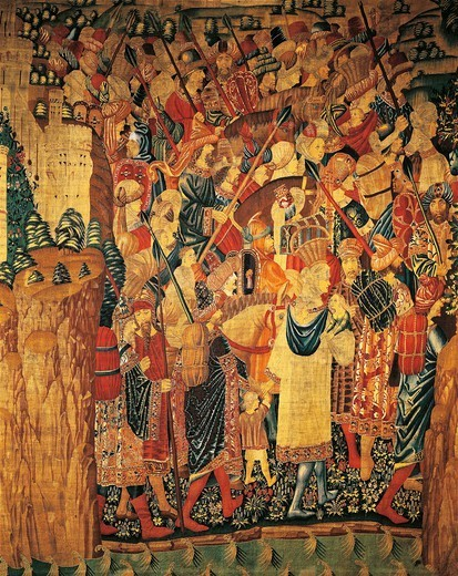 The Moors fleeing Tangier, detail of 15th century tapestry depicting Portuguese King Afonso V's conquest of Tangier (Morocco), kept in the Collegiate Church of Pastrana, Spain. : Stock Photo