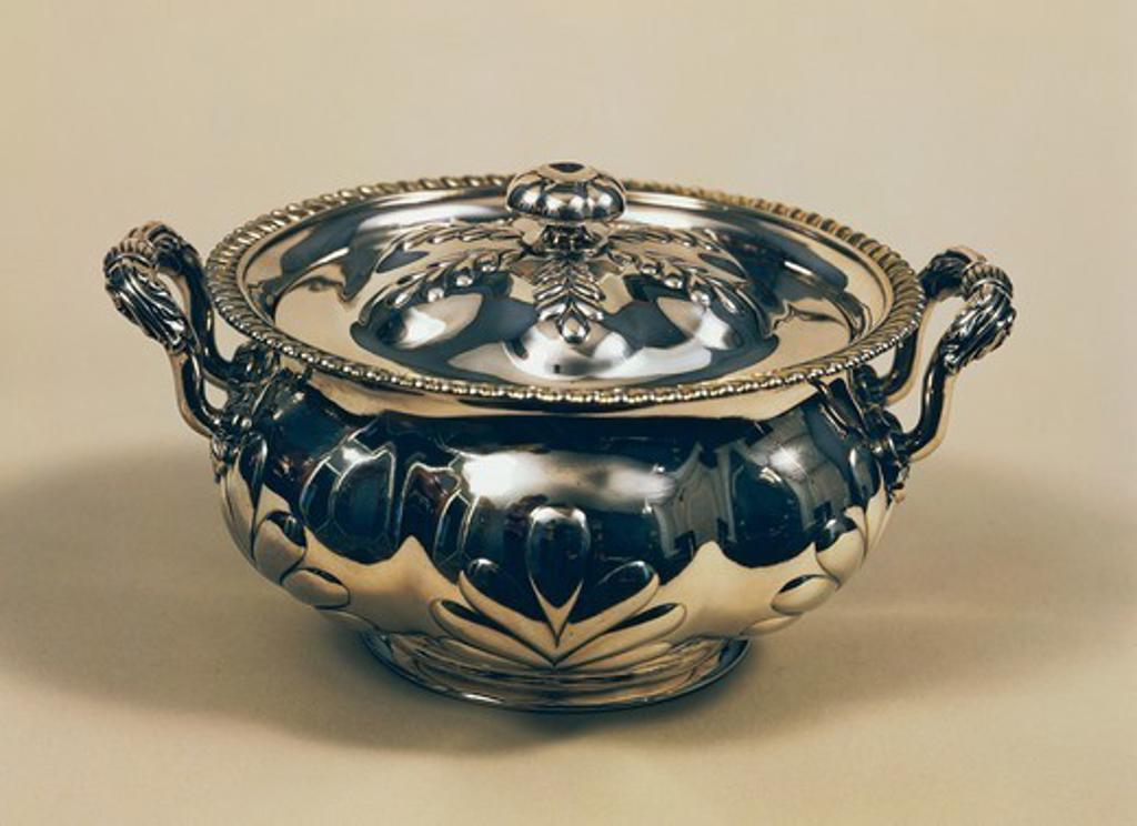 Silversmith's art, 18th century. Silver tureen. : Stock Photo