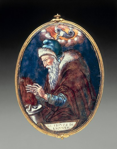 Stock Photo: 1788-27502 Goldsmith's art, France, 16th century. Limoges enamel oval pendant depicting Winter, 1570-1580. Attributed to Pierre Courteys (circa 1520-circa 1586).