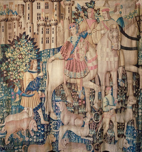 Stock Photo: 1788-27539 Deer hunting: the offering of the foot to the guest of honour, 15th century Flemish tapestry kept in the Langeais Castle, France.