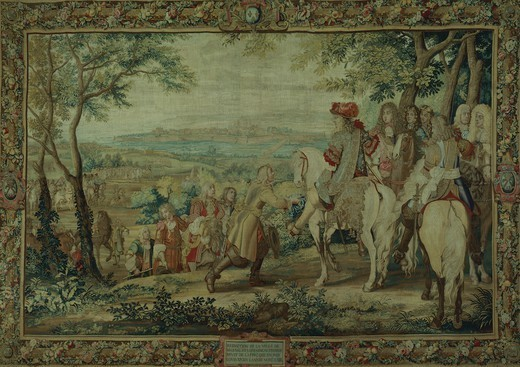 Stock Photo: 1788-27550 City of Mousal in Lorrain gives itself up to Louis XIV, September 1, 1663, 17th century French tapestry by Jean Mozin's workshop, manufacture of Gobelins, 1665-80, from the series Story of the King.