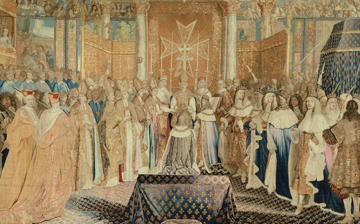 Coronation of Louis XIV at Reims, June 7, 1654, 17th century French tapestry by Jean Mozin's workshop, manufacture of Gobelins, from the series Story of the King. : Stock Photo