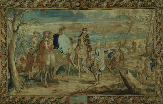 Stock Photo: 1788-27552 Louis XIV's taking of Dole, Franche Comte', February 16, 1668, 17th century French tapestry by Jean Mozin's workshop, manufacture of Gobelins, 1672-76, from the series Story of the King.