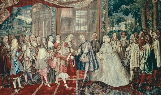 Meeting of Philip IV of Spain and Louis XIV of France at Pheasant Island, June 6, 1660, 17th century French tapestry by Jean Mozin's workshop, manufacture of Gobelins, 1665-80, from the series Story of the King. : Stock Photo