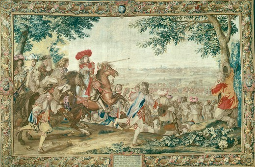 Stock Photo: 1788-27554 Entry of Louis XIV into Dunkirk, December 2, 1662, 17th century French tapestry by Jean Mozin's workshop, manufacture of Gobelins, from the series Story of the King.
