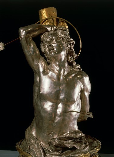 Silversmith's art, Italy, 18th century. Paolo de Matteis (1662-1728) and Gaetano Starace, Bust of Saint Sebastian in embossed silver and gilded copper, 1727. Height 130 cm. : Stock Photo