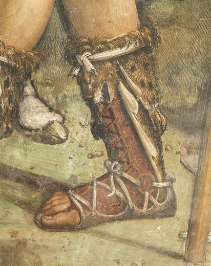 Stock Photo: 1788-27575 Italy - Tuscany Region - Siena. Basilica of Saint Domenico. Saint Catherine Chapel. Giovanni Antonio Bazzi known as Sodoma (1477-1549). Fresco depicting the Execution of Nicholas Tuldo (Niccolo' di Tuldo), detail of footwear.