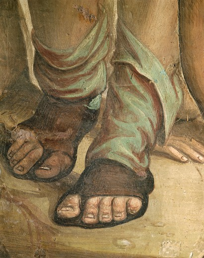 Stock Photo: 1788-27576 Italy - Tuscany Region - Siena. Basilica of Saint Domenico. Saint Catherine Chapel. Giovanni Antonio Bazzi known as Sodoma (1477-1549). Fresco depicting the Execution of Nicholas Tuldo (Niccolo' di Tuldo), detail of footwear.