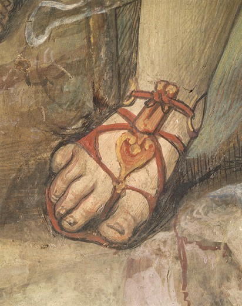 Stock Photo: 1788-27578 Italy - Tuscany Region - Siena. Basilica of Saint Domenico. Saint Catherine Chapel. Giovanni Antonio Bazzi known as Sodoma (1477-1549). Fresco depicting the Execution of Nicholas Tuldo (Niccolo' di Tuldo), detail of footwear.