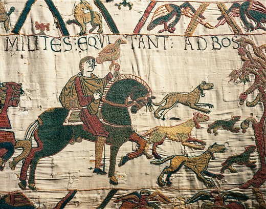 King Harold heading towards the coast, detail of Queen Mathilda's Tapestry or Bayeux Tapestry depicting Norman conquest of England in 1066, France, 11th century. : Stock Photo