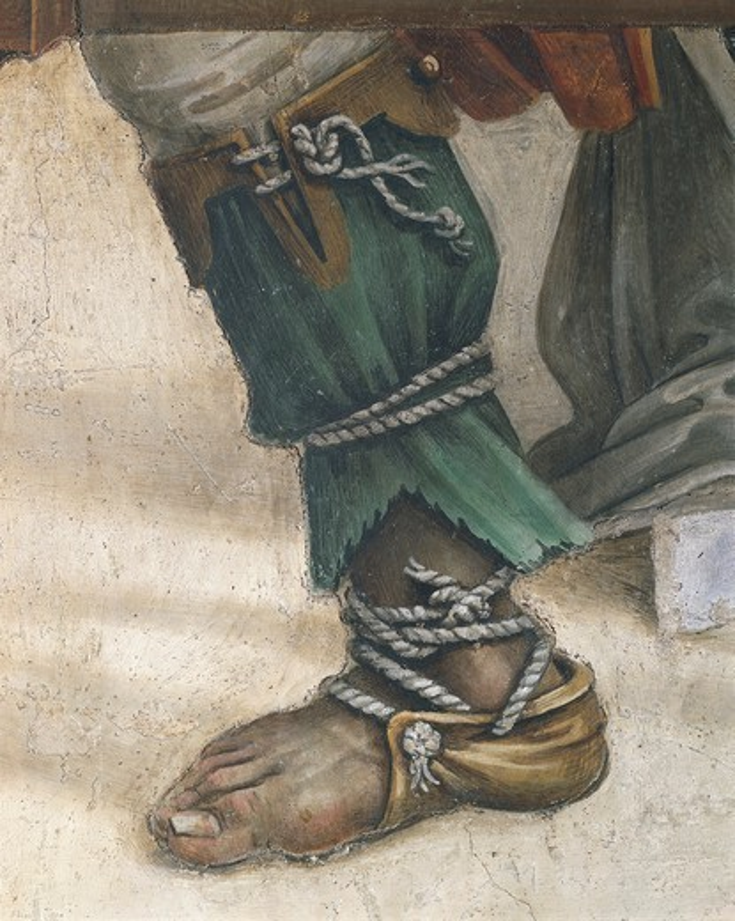 Italy - Tuscany Region - Florence - Church of Santa Maria Novella. Chapel of Filippo Strozzi. Filippino Lippi (1457-1504). Saint John the Evangelist Resuscitating Drusiana, detail of footwear. Fresco. : Stock Photo