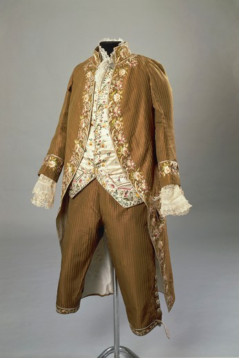 Stock Photo: 1788-27633 Fashion, Italy, 18th century. Embroidered silk men's suit with stripes. Italian manufacture, from Emilia Romagna or Lombardy Region, 1770-1780.
