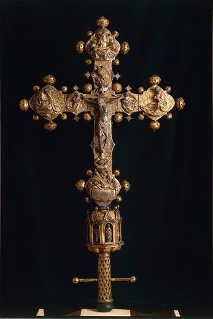 Silversmith's art, Italy, 15th century. Nicola Gallucci da Guardiagrele (1385-1462), processional cross of Saint Maximus, 1434, in silver, enamel and copper. Height 90 cm. Front side. : Stock Photo