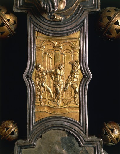 Goldsmith's art, Italy, 16th century. Processional cross, 1557, made in Abruzzo Region. Detail. : Stock Photo
