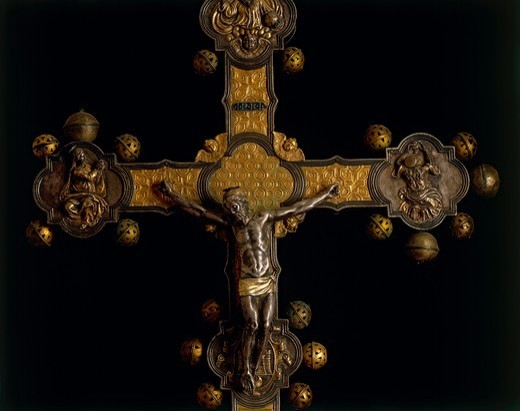 Stock Photo: 1788-27689 Goldsmith's art, Italy, 16th century. Processional cross, 1557, made in Abruzzo Region. Detail.
