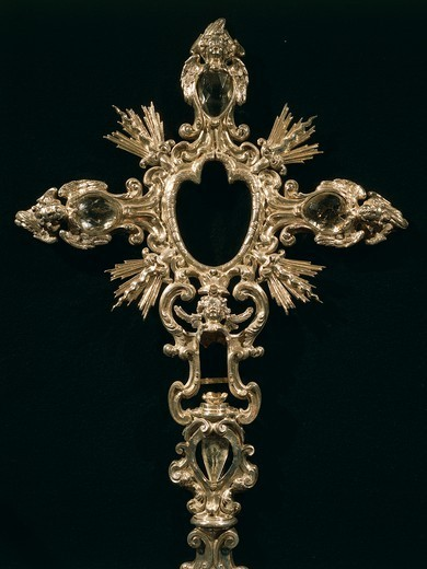 Stock Photo: 1788-27781 Goldsmith's art, Italy, 18th century. Biagio Guariniello (1670-1710), Cross reliquary, 1701. Cathedral of Avellino, Campania region.