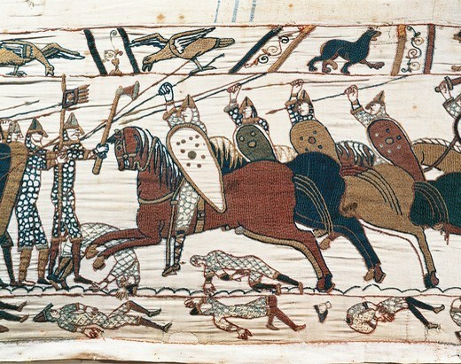 Stock Photo: 1788-27789 Cavalry at Hastings battlefield, detail of Queen Mathilda's Tapestry or Bayeux Tapestry depicting Norman conquest of England in 1066, France, 11th century.