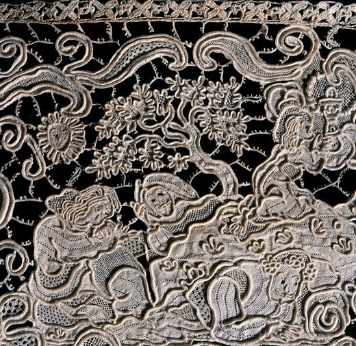 Stock Photo: 1788-27860 Laces, 17th century. Needle lace hem for an altar tablecloth with vegetable shoots and Gospel episodes, made for the church of Saint Martin in Burano, cm 12,5 high, approximately 1650. Detail: figures of Saints.