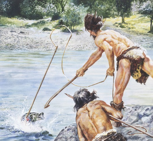 Stock Photo: 1788-27916 Prehistory: drawing depicting men and habitat of the Neolithic