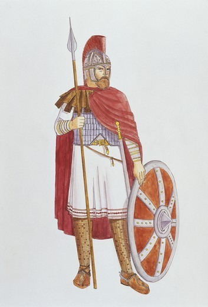 Stock Photo: 1788-27957 Roman Civilization. Uniformed military officer, AD 3rd-4th century. Colour illustration