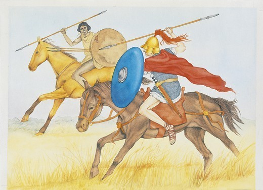 Roman Civilization. Fighting Carthaginian and Roman horsemen. Second Punic War, 218-201 BC. Colour illustration : Stock Photo