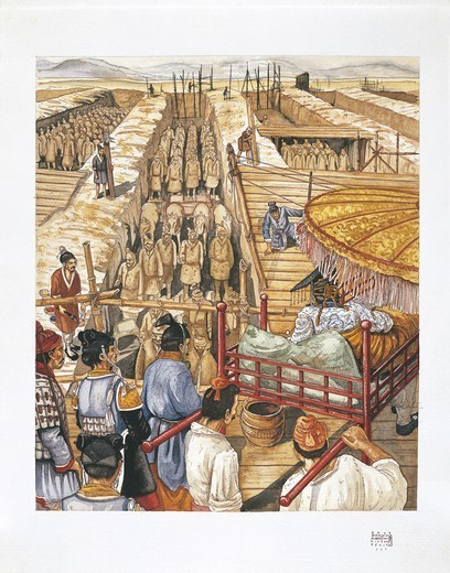 Stock Photo: 1788-27972 Chinese Civilization - Building of the Mausoleum of Emperor Qin Shi Huang-Ti (reign 221-210 BC). Workmen interring terracotta soldiers. Color illustration